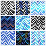 Set of nine seamless patterns with zigzag lines Royalty Free Stock Photo