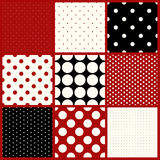 Set of nine seamless polka dots patterns Stock Photography
