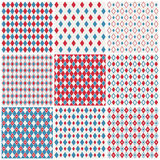 Harlequin patterns. Set of nine seamless red, white and blue harlequin patterns Royalty Free Stock Images