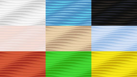 Set of nine seamless wavy convex abstract backgrounds Royalty Free Stock Images