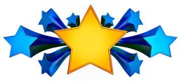 Set of nine shiny gold stars in motion Royalty Free Stock Photo