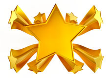 Set of nine shiny gold stars in motion Stock Photo