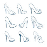Set of nine shoes. Sketch style Royalty Free Stock Photos