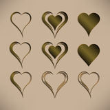 Set of nine simple isolated vector hearts with bronze metallic pattern Royalty Free Stock Images