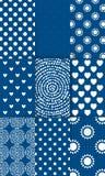 Set of nine simply flat geometric patterns. Blue background royalty free illustration