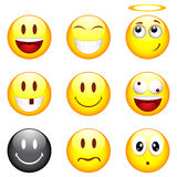 Set of nine smileys Stock Image