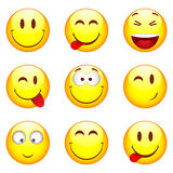 Set of nine smileys Royalty Free Stock Photography