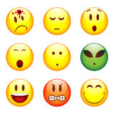 Set of nine smileys Stock Images