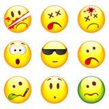 Set of nine smileys. Set of nine yellow smileys stock illustration