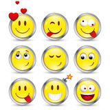 Set of nine smileys Stock Photo