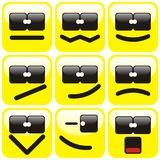 Set of nine smilies Royalty Free Stock Photo