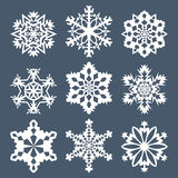Set of nine snowflakes Royalty Free Stock Images