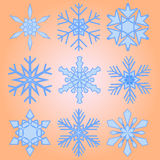 A set of nine snowflakes Christmas Royalty Free Stock Image