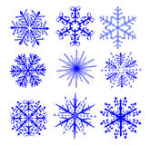 Set of nine snowflakes Stock Photography