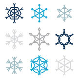 Set of nine snowflakes Royalty Free Stock Photography