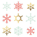 Set of nine snowflakes Stock Photos