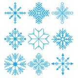 Vector illustration. Set of Nine Snowflakes thin line ftat design Stock Photography
