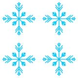 Vector illustration. Set of Nine Snowflakes thin line ftat design Royalty Free Stock Photos