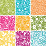 Set Of Nine Spring Flowers Seamless Patterns Stock Photo