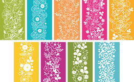 Set Of Nine Spring Flowers Vertical Seamless Stock Photo