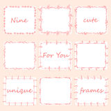 Set of nine square doodles frames. Stock Images