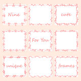 Set of nine square doodles frames. Royalty Free Stock Images
