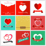 Set of nine style happy Valentine Card Design Royalty Free Stock Photos