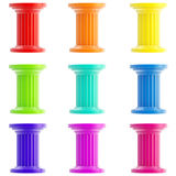 Set of nine stylized columns, pillars isolated Stock Photo