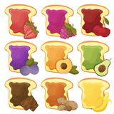 A set of nine sweet sandwiches chocolate, banana, jelly, peanut butter, berries. A set of nine 9 sweet sandwiches with chocolate, banana, jelly, peanut butter Royalty Free Stock Photo
