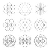 Set of nine symbols of sacred geometry. Linear character for tattoo black and dotted lines on the white  Stock Photo