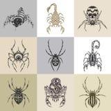 Set of nine tattoo illustration Royalty Free Stock Photography