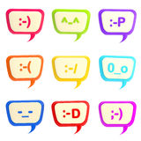 Set of nine text bubbles with smiles inside Royalty Free Stock Photography