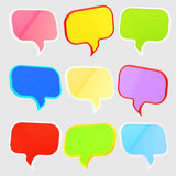 Set of nine text speech bubbles isolated. Text speech bubbles: nine different colors and foreshortening isolated on grey royalty free illustration