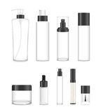 Set of nine transparent cosmetic tubes. Vector. Collection of nine cosmetic acrilic or glass tubes isolated on white. Black and white colors. Modern design Stock Photo
