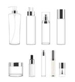Set of nine transparent cosmetic tubes. Vector Stock Photography