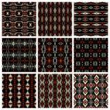 Set of nine tribal patterns Royalty Free Stock Image