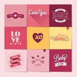 Set of nine Valentine's day stickers Royalty Free Stock Photos