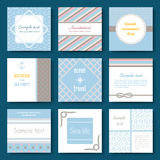 Set of nine vector banner templates in marine style. Elegant invitation card. Celebration design. Graphic patterns. Greeting card. Beach party. Rope borders Stock Photography