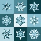 Set of Nine Vector Blue White SnowFlake Shapes Design Elements Royalty Free Stock Photo