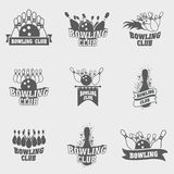 Set of nine vector bowling logos, symbols template with ball and pins. Stock Photos