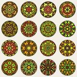 Set of Nine Vector Colorful Circular Floral Oriental Star Mandala Ornamental Pattern Stock Image