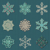 Set of Nine Vector Cute Sewn Knitted Snowflakes stock illustration