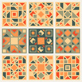 Set of Nine Vector Geometric Square Quilt Retro Pattern Design Element Set in Orange and Green Colors Stock Image