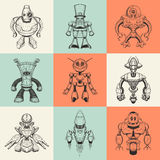 Set of nine vector illustrations with cartoon Stock Photography