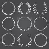 Set of nine vector laurel wreaths Royalty Free Stock Photo
