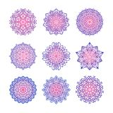Set of nine vector mandalas with pink and violet gradient. Royalty Free Stock Photo
