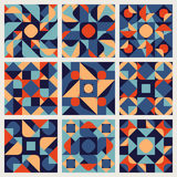 Set of Nine Vector Seamless Blue Orange White Color Retro Geometric Ethnic Square Quilt Pattern Collection Stock Photography
