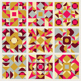 Set of Nine Vector Seamless Blue Pink Yellow White Colors Retro Geometric Ethnic Square Quilt Pattern Collection Royalty Free Stock Photos