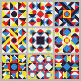Set of Nine Vector Seamless Blue Red Yellow White Color Retro Geometric Ethnic Square Quilt Pattern Collection Stock Photo
