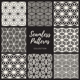 Set of Nine Vector Seamless Cube Lines Geometric Pattern Collection. Set of Nine Vector Seamless Black And White Cube Shape Lines Geometric Pattern Collection Royalty Free Stock Images